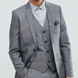Asos French Connection Slim Fit Gray Herringbone Suit Jacket