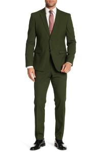 14th & Union Solid Two Button Notch Lapel Extra Trim Fit Suit